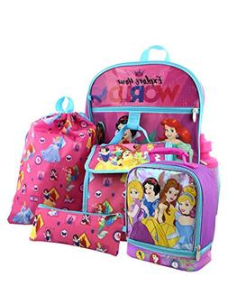 Disney Princess 6 piece Backpack and Dual Compartment Lunch