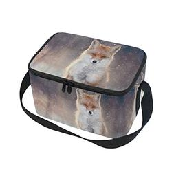ALAZA Red Fox Insulated Lunch Bag Box Cooler Bag Reusable To