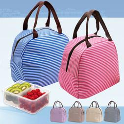 Reusable Stripe Thermal Insulated Cooler Zip Lunch Box Picni