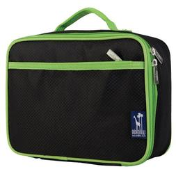 Wildkin 33527 Rip-Stop Black/Green Lunch Box, Insulated, Moi