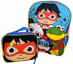 Ryan's World Boys School Backpack Lunch Box Book Bag 5 Piece