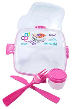 Sistema Salad To Go BPA Free Salad Container, Pink, 1-Pack