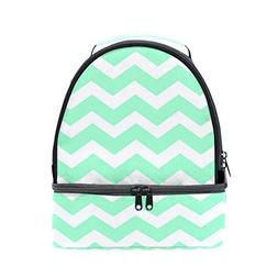 seafoam green chevron lunch bag