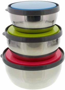 Set of 3 Stainless Steel Food Containers Mixing Bowls Servin