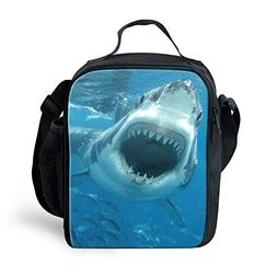 Amzbeauty Shark Lunch Bag for Kids Insulated Reusable Square