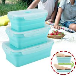 Silicone Folding Food Lunch Boxes Portable Bowl Bento Picnic