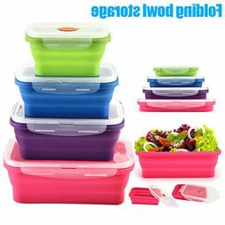Silicone Food Lunch Box Bowl Bento Boxes Folding Collapsible