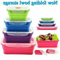 Silicone Food Portable Lunch Boxes Bowl Bento Picnic Folding