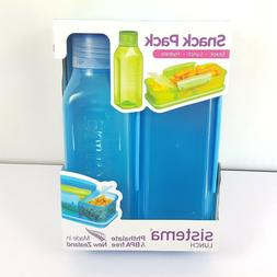 Sistema Snack Pack Box & Water Bottle Set Blue BPA FREE Back