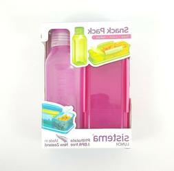Sistema Snack Pack Box & Water Bottle Set Pink BPA FREE Back