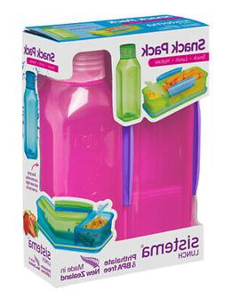 Sistema Snack Pack, Lunch Box and Water Bottle Set, Pink Bac