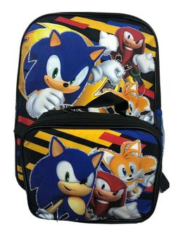 """Sonic The Hedgehog Boys 16"""" School Backpack With Lunch Box -"""