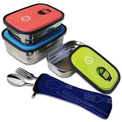 SunCraft Stainless Steel Bento Lunch Boxes - Set of 3 - Leak