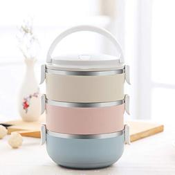 3 Tier Bento Box, 2100ML Stainless Steel Round Lunch Contain