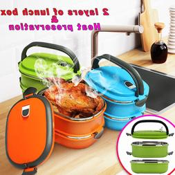 Stainless Steel Thermal Insulated Lunch Box Bento Food Picni