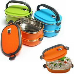 Lunch Box Bento Thermos Heated Food Stainless Steel Containe