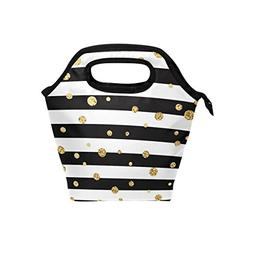 Naanle Stripe Insulated Zipper Lunch Bag Cooler Tote Bag for