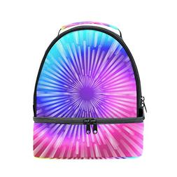 ALIREA Tie Dye Colors Lunch Bag Dual Deck Insulated Lunch Co