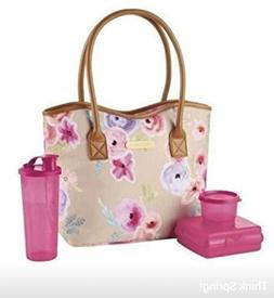 Tupperware Art of Spring 4pc Lunch Set Bag Keepers Tumbler