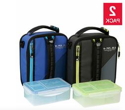 Arctic Zone Ultra Expandable Lunch Box 2-pack, Black & Blue