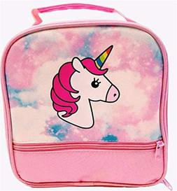 Unicorn Lunch-Box for Girls. Pink Lunch Bag with Rainbow Hor
