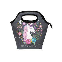 ALIREA Unicorn Lunch Tote Bag Insulated Thermal Cooler Lunch