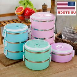 US 1-4Layer Stainless Steel Portable Lunch Box Bento Food Co