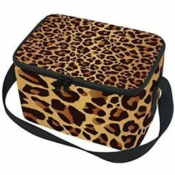 Use4 Leopard Print Bright Animal Skin Insulated Lunch Bag To