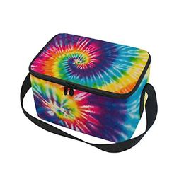Use4 Swirl Tie Dye Colorful Insulated Lunch Bag Tote Bag Coo