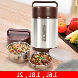 Vacuum Insulated Lunch Box 3 Tier Hot Thermos Food Jar Conta