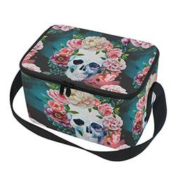 Naanle Watercolor Flowers Skull Canvas Zipper Insulated Lunc