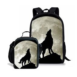 Amzbeauty Wolf School Backpack Lunch Bag Set for Kids person